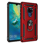 Silicone Matte Finish and Plastic Back Cover Case with Magnetic Finger Ring Stand R03 for Huawei Mate 20 Red