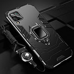 Silicone Matte Finish and Plastic Back Cover Case with Magnetic Finger Ring Stand R03 for Huawei P40 Lite Black