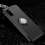Silicone Matte Finish and Plastic Back Cover Case with Magnetic Finger Ring Stand R03 for Samsung Galaxy S20 Plus 5G Black