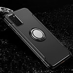 Silicone Matte Finish and Plastic Back Cover Case with Magnetic Finger Ring Stand R04 for Samsung Galaxy S20 5G Black