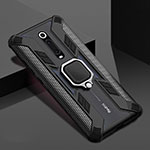 Silicone Matte Finish and Plastic Back Cover Case with Magnetic Finger Ring Stand R05 for Xiaomi Mi 9T Pro Black