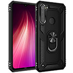 Silicone Matte Finish and Plastic Back Cover Case with Magnetic Finger Ring Stand R05 for Xiaomi Redmi Note 8 Black