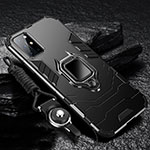 Silicone Matte Finish and Plastic Back Cover Case with Magnetic Finger Ring Stand S01 for OnePlus 8T 5G Black