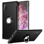 Silicone Matte Finish and Plastic Back Cover Case with Magnetic Finger Ring Stand S01 for Samsung Galaxy Note 10 Plus 5G Black