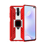Silicone Matte Finish and Plastic Back Cover Case with Magnetic Finger Ring Stand S02 for Xiaomi Redmi K30 5G Red