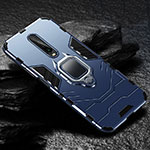 Silicone Matte Finish and Plastic Back Cover Case with Magnetic Finger Ring Stand S04 for Xiaomi Redmi K30 5G Blue