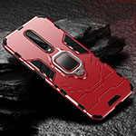 Silicone Matte Finish and Plastic Back Cover Case with Magnetic Finger Ring Stand S04 for Xiaomi Redmi K30 5G Red