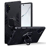 Silicone Matte Finish and Plastic Back Cover Case with Magnetic Stand A03 for Samsung Galaxy Note 10 Plus 5G Black