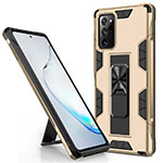 Silicone Matte Finish and Plastic Back Cover Case with Magnetic Stand for Samsung Galaxy Note 20 Ultra 5G Gold
