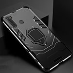 Silicone Matte Finish and Plastic Back Cover Case with Magnetic Stand for Xiaomi Redmi Note 8 Black