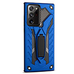 Silicone Matte Finish and Plastic Back Cover Case with Magnetic Stand N03 for Samsung Galaxy Note 20 Ultra 5G Blue