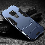 Silicone Matte Finish and Plastic Back Cover Case with Stand A01 for Huawei Mate 20 Blue
