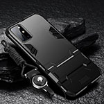 Silicone Matte Finish and Plastic Back Cover Case with Stand A01 for OnePlus 8T 5G Black