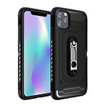 Silicone Matte Finish and Plastic Back Cover Case with Stand A03 for Apple iPhone 11 Pro Max Black