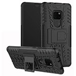 Silicone Matte Finish and Plastic Back Cover Case with Stand A03 for Huawei Mate 20 Black