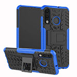 Silicone Matte Finish and Plastic Back Cover Case with Stand A04 for Huawei P30 Lite Blue