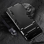 Silicone Matte Finish and Plastic Back Cover Case with Stand for Huawei Enjoy 10S Black