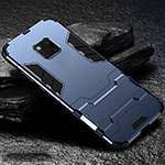 Silicone Matte Finish and Plastic Back Cover Case with Stand for Huawei Mate 20 Pro Blue