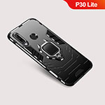 Silicone Matte Finish and Plastic Back Cover Case with Stand for Huawei P30 Lite Black