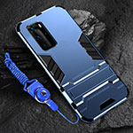 Silicone Matte Finish and Plastic Back Cover Case with Stand for Huawei P40 Pro Blue
