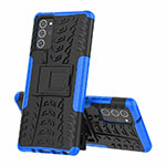 Silicone Matte Finish and Plastic Back Cover Case with Stand for Samsung Galaxy Note 20 Ultra 5G Blue