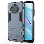 Silicone Matte Finish and Plastic Back Cover Case with Stand for Xiaomi Mi 10T Lite 5G Blue