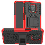 Silicone Matte Finish and Plastic Back Cover Case with Stand for Xiaomi Redmi Note 9 Pro Red