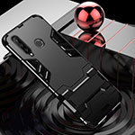 Silicone Matte Finish and Plastic Back Cover Case with Stand R01 for Huawei P30 Lite Black