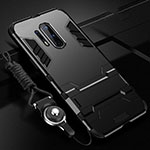 Silicone Matte Finish and Plastic Back Cover Case with Stand R01 for OnePlus 8 Pro Black
