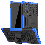 Silicone Matte Finish and Plastic Back Cover Case with Stand R01 for Samsung Galaxy Note 10 Plus 5G Blue