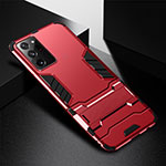 Silicone Matte Finish and Plastic Back Cover Case with Stand R01 for Samsung Galaxy Note 20 Ultra 5G Red