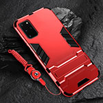 Silicone Matte Finish and Plastic Back Cover Case with Stand R01 for Samsung Galaxy S20 Plus 5G Red