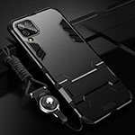 Silicone Matte Finish and Plastic Back Cover Case with Stand R02 for Huawei P40 Lite Black