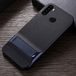 Silicone Matte Finish and Plastic Back Cover Case with Stand R04 for Xiaomi Redmi Note 8 Blue