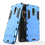 Silicone Matte Finish and Plastic Back Cover with Stand for Samsung Galaxy A9 Star Lite Blue