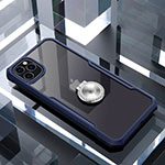 Silicone Transparent Mirror Frame Case 360 Degrees with Magnetic Finger Ring Stand for Apple iPhone 11 Pro Blue