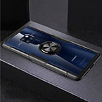 Silicone Transparent Mirror Frame Case 360 Degrees with Magnetic Finger Ring Stand for Huawei Mate 20 Black