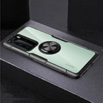Silicone Transparent Mirror Frame Case 360 Degrees with Magnetic Finger Ring Stand for Huawei P40 Pro Black