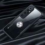 Silicone Transparent Mirror Frame Case 360 Degrees with Magnetic Finger Ring Stand for Xiaomi Mi 10 Ultra Black