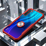 Silicone Transparent Mirror Frame Case 360 Degrees with Magnetic Finger Ring Stand for Xiaomi Redmi Note 8 Red