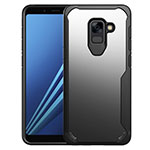 Silicone Transparent Mirror Frame Case Cover for Samsung Galaxy A8+ A8 Plus (2018) Duos A730F Black