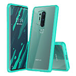 Silicone Transparent Mirror Frame Case Cover H02 for OnePlus 8 Pro Cyan