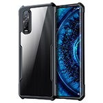 Silicone Transparent Mirror Frame Case Cover M01 for Oppo Find X2 Pro Black