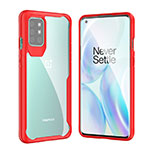 Silicone Transparent Mirror Frame Case Cover M02 for OnePlus 8T 5G Red