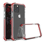 Silicone Transparent Mirror Frame Case Cover M04 for Apple iPhone 11 Pro Red