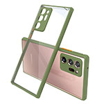 Silicone Transparent Mirror Frame Case Cover N02 for Samsung Galaxy Note 20 Ultra 5G Army green