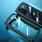 Silicone Transparent Mirror Frame Case Cover N08 for Huawei P40 Pro Cyan