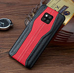 Soft Luxury Leather Snap On Case Cover for Huawei Mate 20 RS Red and Black