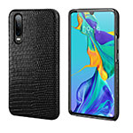 Soft Luxury Leather Snap On Case Cover P02 for Huawei P30 Black