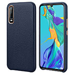 Soft Luxury Leather Snap On Case Cover P03 for Huawei P30 Blue